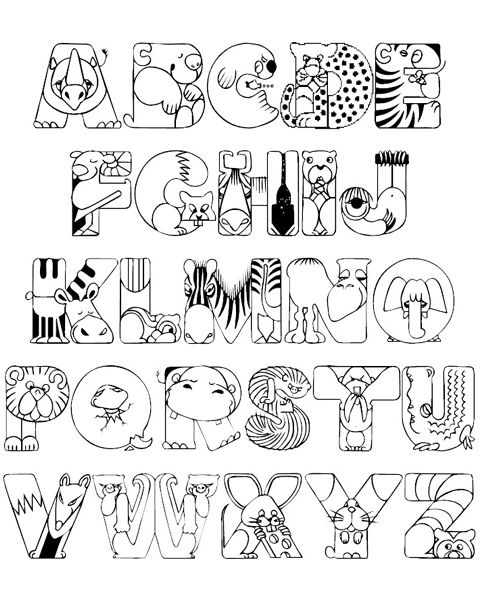 ☮ American Hippie Color it Yourself ~ Adult Coloring Pages . . Crazy Zoo Alphabet