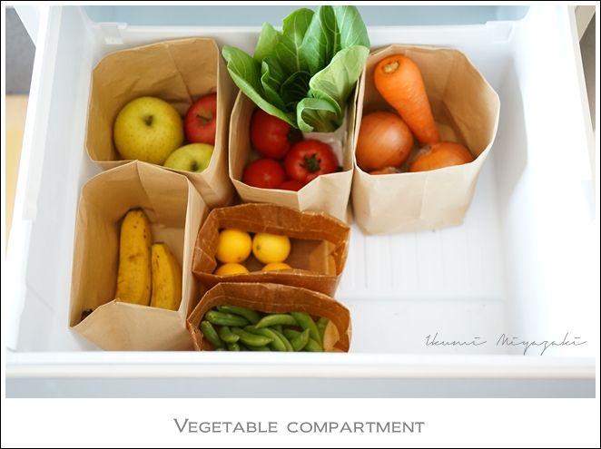 ★冷蔵庫の野菜室整理にお役立ち♪家に余っている紙袋を活用!収納アイデア | インテリアと暮らしのヒント