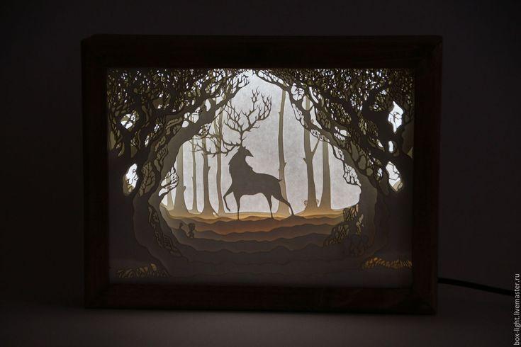 Купить Дух леса, ночник ручной работы, Lightbox - лайтбокс, ручная работа, очень красиво
