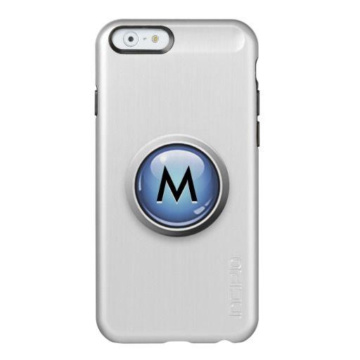 Blue Metallic Elegance with Monogram Incipio Feather Shine iPhone 6 Case with brushed aluminum finish