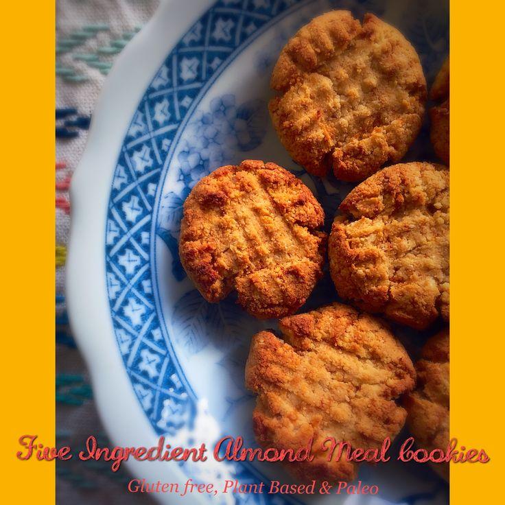 Five Ingredient easy Almond Meal Cookies--gluten free, plant based & paleo!  #plantbased #wholefoods #healthysnacks #healthy #cookies #healthydessert #glutenfree #recipeforarun
