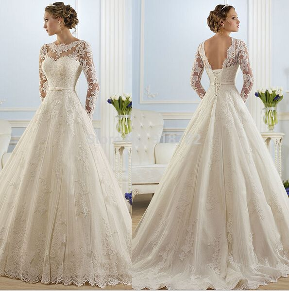 Vestido De Noiva 2015 Ball Gown Long Sleeves Appliques See Through Wedding Dresses Wedding Gown Bridal Dresses Bridal Gown alishoppbrasil