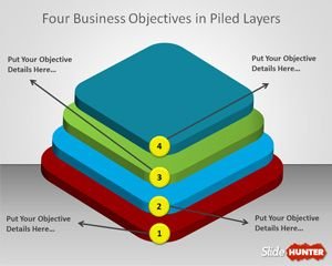 Free 4 objectives in a stacked layer design is a free PowerPoint template that you can download to make awesome business diagrams with multi-layer data