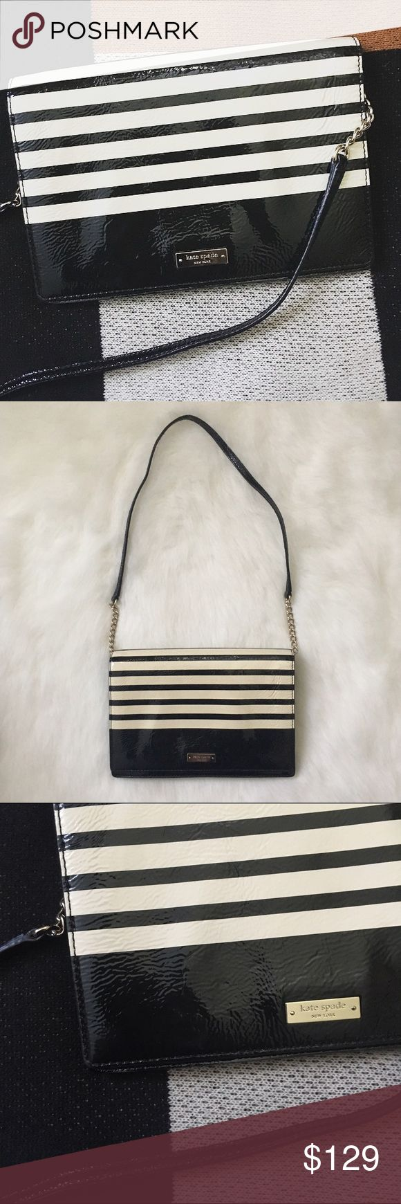 Kate Spade Patent Striped Shoulder Bag Authentic. Great preowned condition. Patent bag does show signs of wear, as all patent bags do. Black with very light cream/off white stripes. Please note that this is shoulder bag and cannot be worn as a crossbody bag. kate spade Bags Shoulder Bags