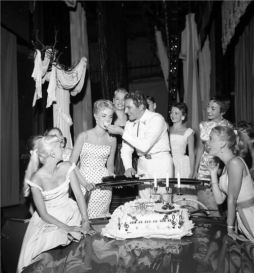 Liberace celebrating his 39th birthday at The Riviera Hotel, Las Vegas, 1958.