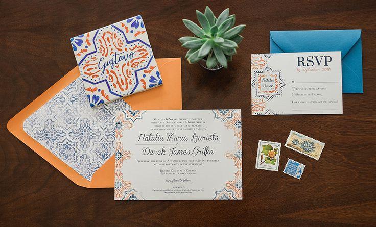 Spanish Tile Wedding Invitation Suite | Custom Stationery Design | Orange and Blue | Pattern