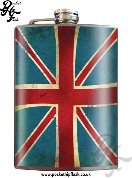 Art inspired stainless steel Union Jack hip flask @ The Pocket Hip Flask Company:
