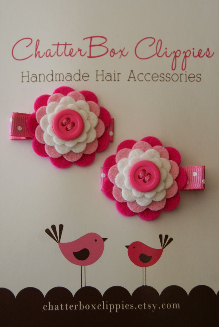 Baby Hair Clips in Wool Felt Pink and White Toddler Hair Clip Girls Hair Clip. $7.99, via Etsy.