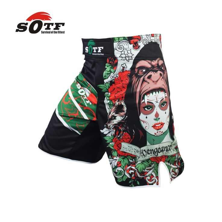 SOTF green orangutan breathable ferocious boxeo fitness exercise shorts Tiger Muay Thai boxing shorts cheap mma shorts boxeo