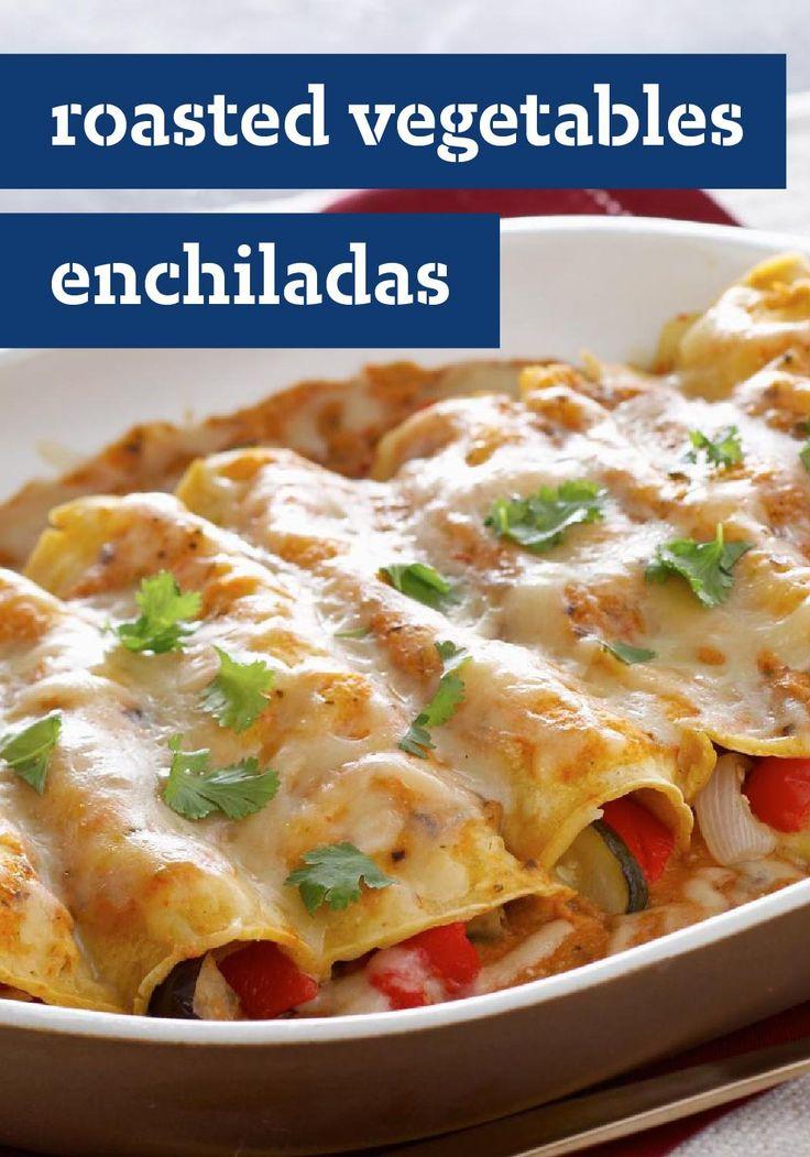 Roasted Vegetables Enchiladas – Roasting vegetables in the zesty ...