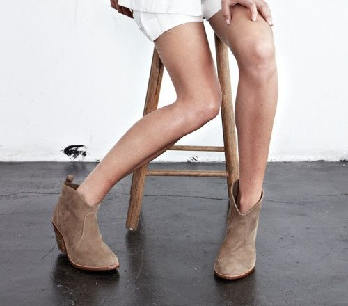 Short tan boots with white. If it were a tad cooler here I'd live in tan  boots all year round.