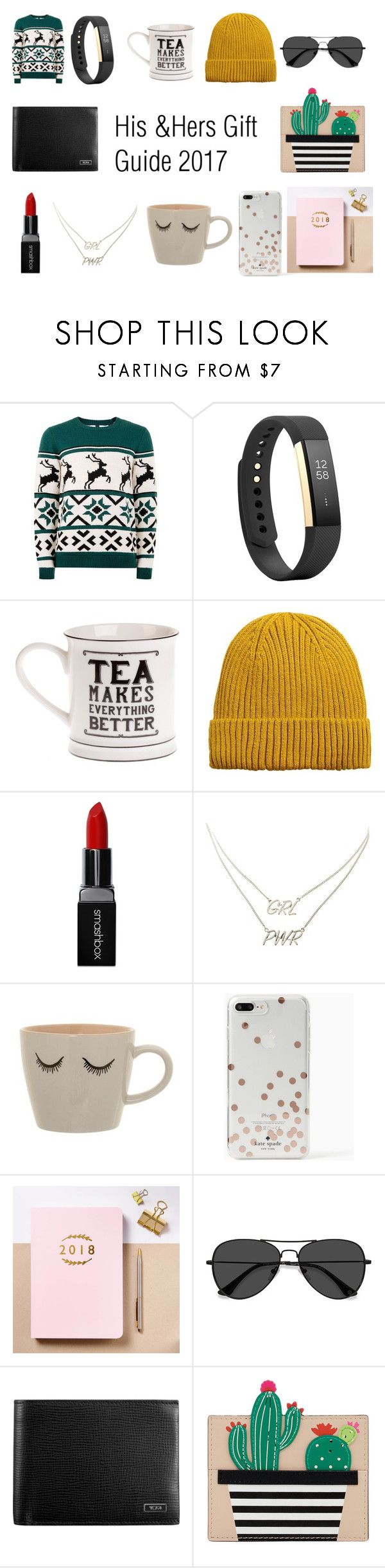 """His and Hers Gift Guide"" by hannahevickers on Polyvore featuring Topman, Fitbit, MANGO MAN, Smashbox, Charlotte Russe, Kate Spade, Posh Totty Designs, EyeBuyDirect.com and Tumi"