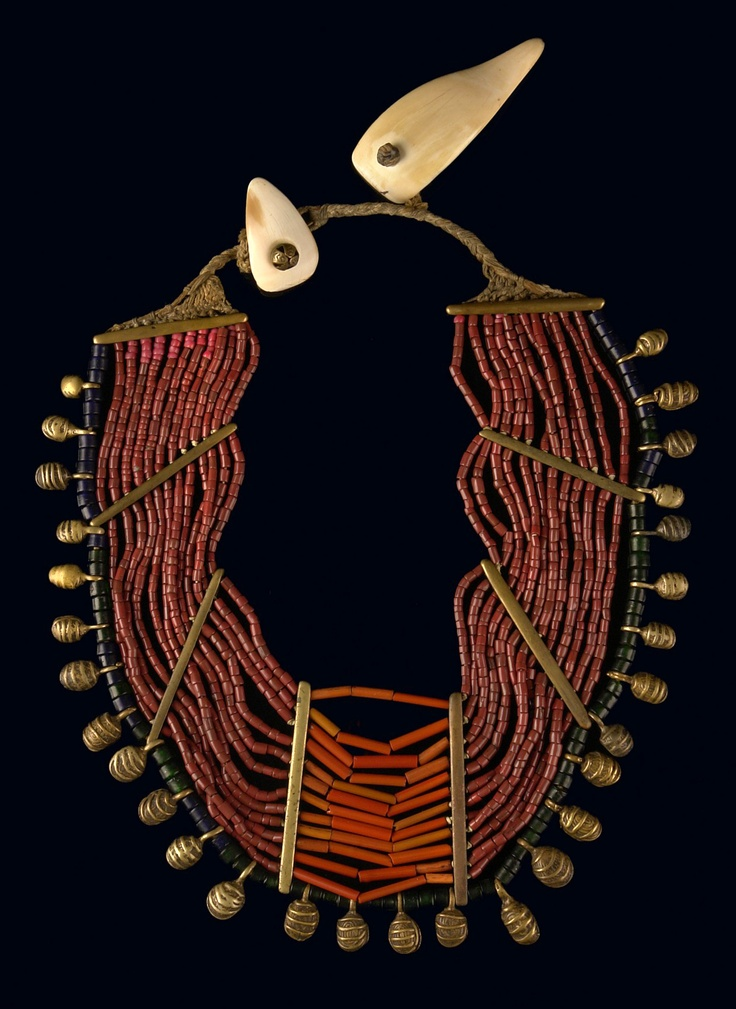 India   Necklace from Nagaland.  Glass beads, brass spacers and bells, shells, on cotton fabric thead   800€ ~ Sold