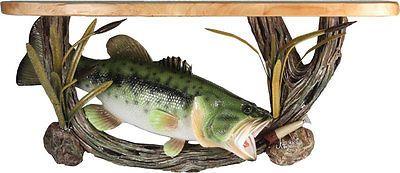 Wood Shelf Largemouth Bass Cabin or Lodge Decor Fishing Wall Shelf 977