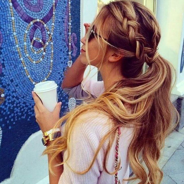 200 idéias de penteados para inspirar: trança + rabo de cavalo baixinho