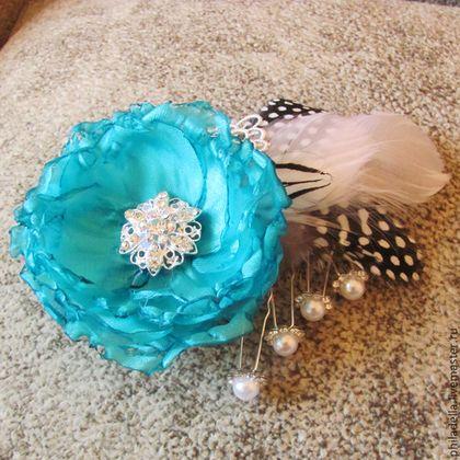 Роза Тиффани, бирюзовый цвет. Брошь-заколка, цветы из ткани, винтажная -
