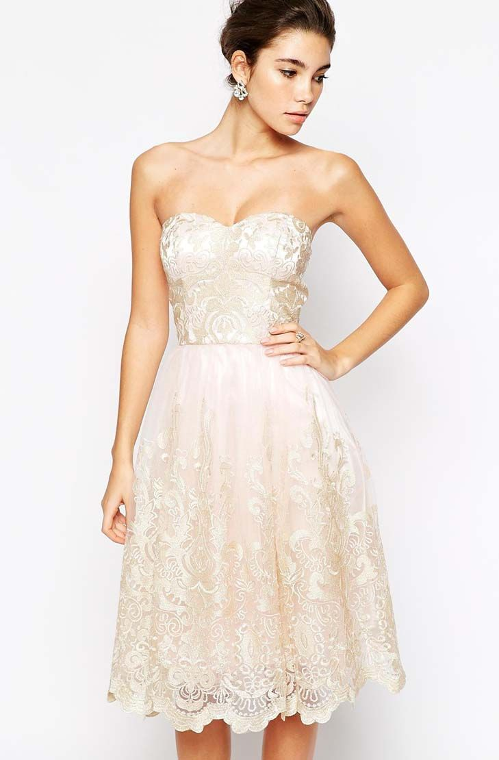 Premium Metallic Lace Bandeau Midi Prom Dress