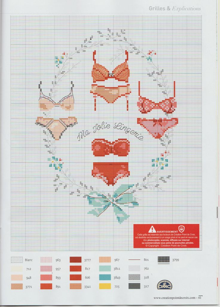 Ladies undergarment pattern / chart for cross stitch, crochet, knitting, knotting, beading, weaving, pixel art, micro macrame, and other crafting projects.