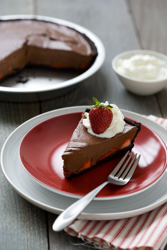 Nothing goes better together than chocolate and strawberries. This pie combines a chocolate crust with a decadent chocolate filling, laced with strawberries.