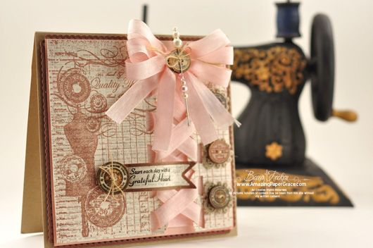 Stunning card designed by Becca Feeken using Grandma's Attic Background Stamp and sentiment from Vintage Rose Medallions