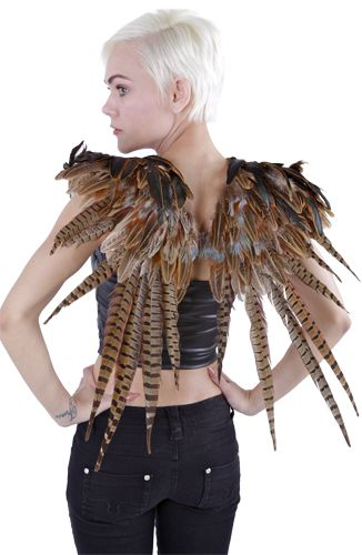 Over the Shoulder Natural Pheasant Wing: WG50RN--N 24x27 Over the Shoulder Wing made with Natural Ringneck Pheasant feathers. They are sized 24x27. This product is part of our Wings - Halos category. SHOP FEATHERS: www.featherplace.com