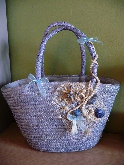 Украшение сумки ракушками