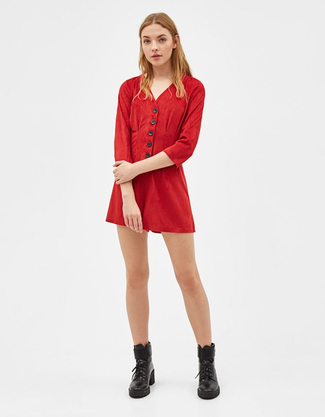 72d6d8f38552 Faux suede playsuit - Bershka  newin  trend  trendy  cool  fashion  aw18   outfit  ideas  inspiration  look  animalprint  jumpsuits  playsuits  monos   woman ...