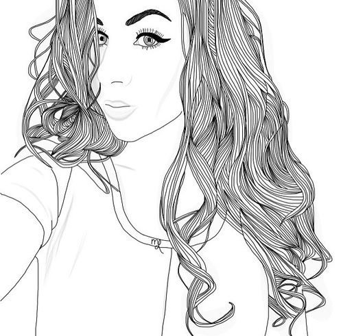 tumblr girl coloring pages - girl outline and drawing image tumblr outlines