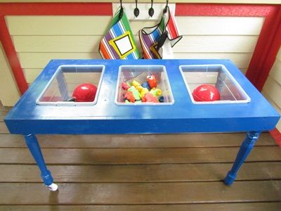 DIY Sensory table. Lightweight, legs cut to child size and castors to ease of movability.