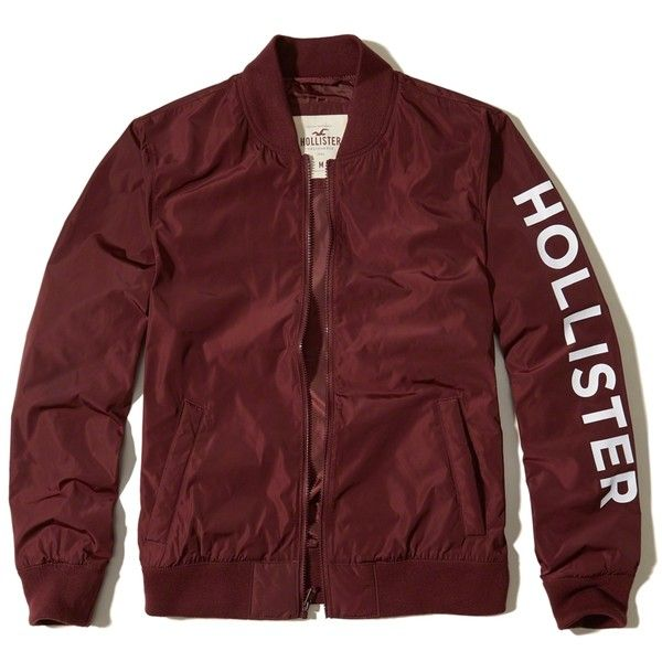 Hollister Graphic Nylon Bomber Jacket ($50) ❤ liked on Polyvore featuring men's fashion, men's clothing, men's outerwear, men's jackets, burgundy, mens burgundy jacket, mens bomber jacket, mens nylon bomber jacket, mens burgundy bomber jacket and mens nylon jacket