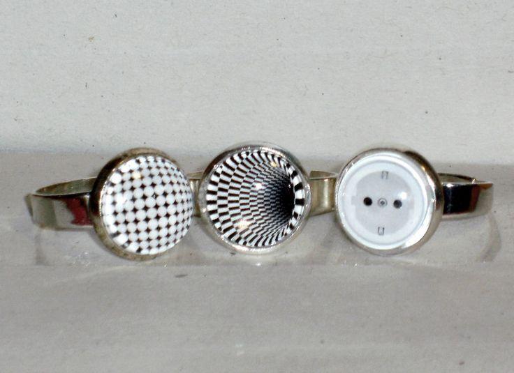 Ring Cluster Größenverstellbar Cabochon Glas ohne Stein Damen Modeschmuck
