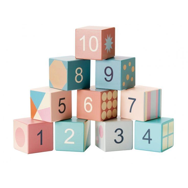 Kids Concept Holz Bauklötze mit Zahlen & Mustern pastell 10er Set bei…