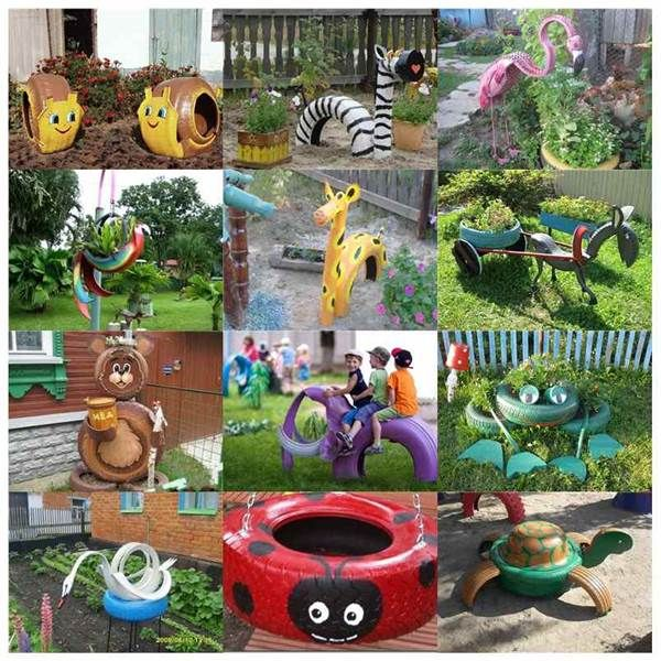 Plus de 40 idées de bricolage Creative de réutiliser vieux pneu en forme d'animaux Décor Jardin