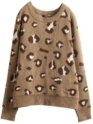 Kahaki Leopard Long Sleeve Sweater US$26.06