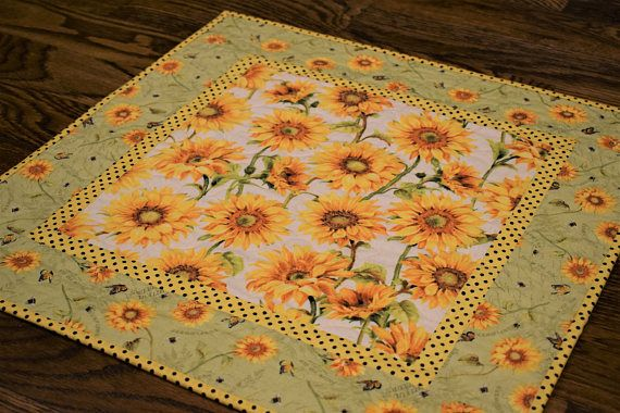 Sunflower Table Topper Yellow Green Table Topper Quilted