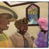 """""""St. Thomas Church Ladies"""" Ronni Harris - Artist Caribbean Painting on satin.  Ronni's paintings are quilted Whimsical painting of ladies at church 21"""" X 22""""  $850.00 - See more at: http://gallerystthomas.com/art-medium/acrylic-paintings/st-thomas-church-ladies.html#sthash.m3GBcRnn.dpuf"""