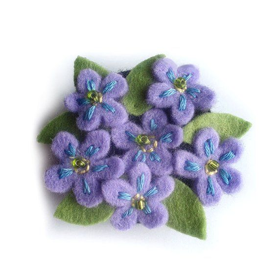 Forget Me Not Brooch Felt Flower Brooch Pin Purple Blue Flowers Pin Unique Mum Gift Spring Flowers Embroidered Pin Small Flowers Brooch Felt Flowers Embroidered Flowers Small Flowers