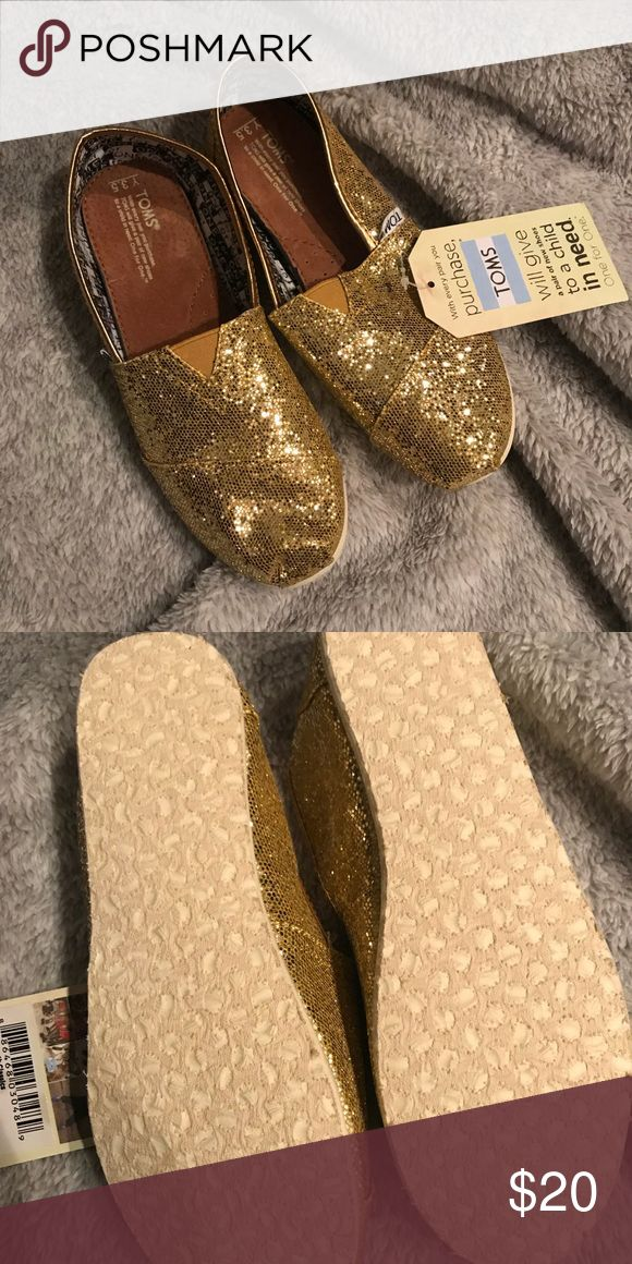 Gold Glitter Toms New Gold Glitter Toms. Youth 3.5 Toms Shoes Flats & Loafers
