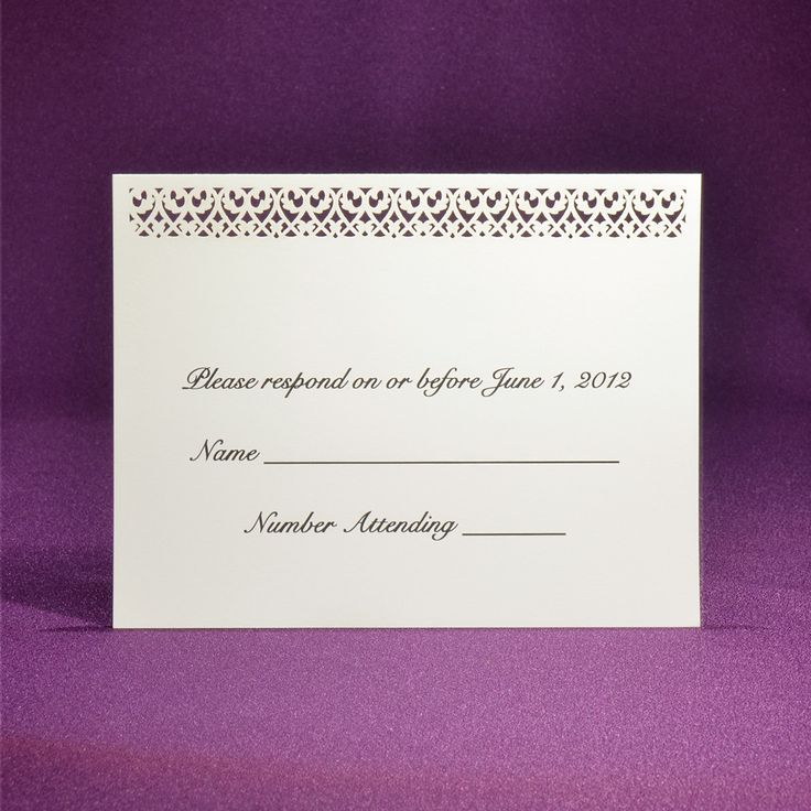 proper response time for wedding rsvp%0A Filigree RSVP Card A   Offset Printed from Paper Orchid