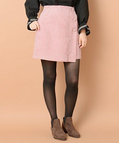 natural couture(ナチュラルクチュール)の「コール天くるみ釦ラップスカート(スカート)」|ピンク