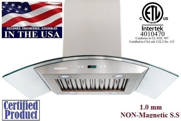 XtremeAir PX01-I36 Pro-X 36 Inch Island Range Hood In Stainless Steel