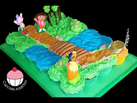 ▶ Dora Cupcake Cake! Make a Dora the Explorer Pullapart Cupcakes Cake - by Cupcake Addiction - YouTube