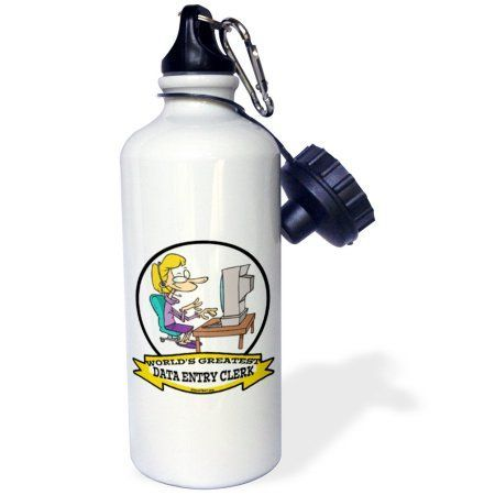 3dRose Funny Worlds Greatest Data Entry Clerk Occupation Job Cartoon, Sports Water Bottle, 21oz