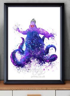 Disney kleine Meerjungfrau Ursula Watercolor Poster Print - Wand-Dekor - Artwork - Watercolor Painting - Aquarell Kunst - Kinder-Dekor-Kinderzimmer Decor