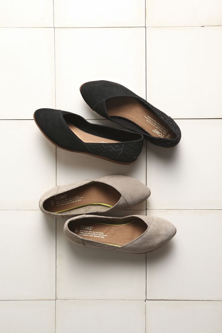 For the women who want comfort and style, TOMS Jutti Flats. They have a comfort insole and chevron embossed details.