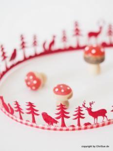 Filzband Waldtiere rot beige creme neu