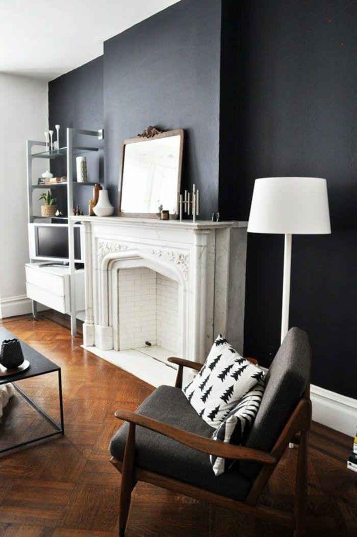 sol en parquet clair et murs avec peinture gris anthrcite