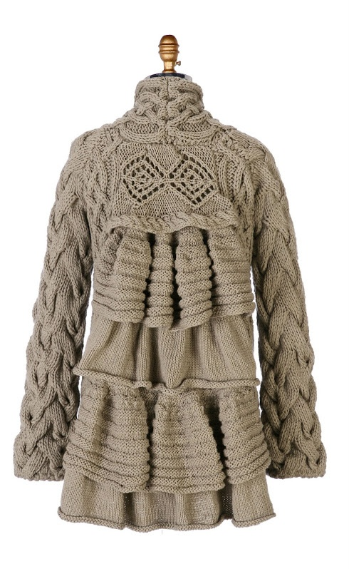 Design Details | Aran cable coat with eyelet ruffled back