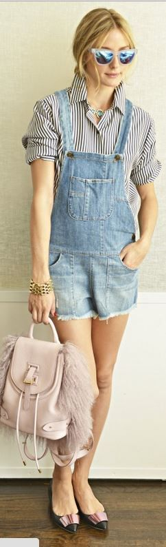 Olivia Palermo's blue denim romper, pink feather handbag, stripe button down shirt, bow ballet shoes, and sunglasses