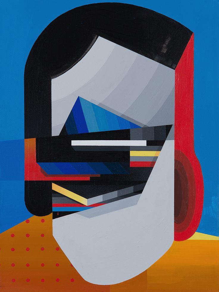 """Tobias Kroeger, """"Linn 7"""" Acrylic on Canvas, 2016, 30x40cm - Cubist, Contemporary, Art, Painting, Geometric, Portrait"""